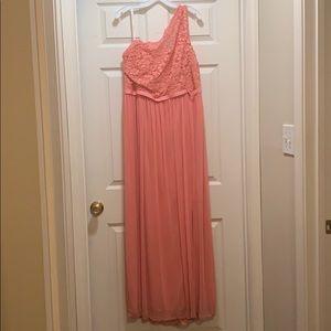 Plus Size Coral One Shoulder Lace Dress. -DB